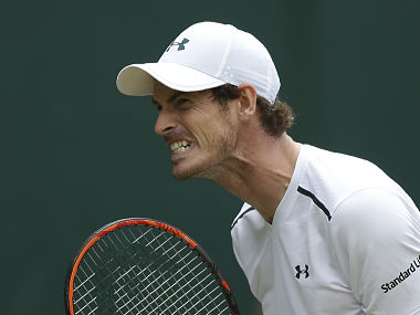 Andy Murray reacts after losing a point against Sam Querrey. AFP