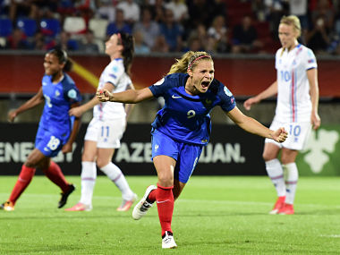France's forward Eugenie Le Sommer celebrates after scoring against Iceland during a UEFA Women's Euro match. AFP