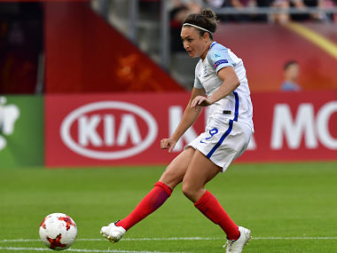 Jodie Taylor scores England's first goal against Scotland during a UEFA Women's Euro match. AFP