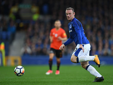 Everton's English striker Wayne Rooney chases the ball during the UEFA Europa League third qualifying round, Game 1 match between Everton and Ruzomberok at Goodison Park football stadium in Liverpool on July 27, 2017. / AFP PHOTO / Paul ELLIS