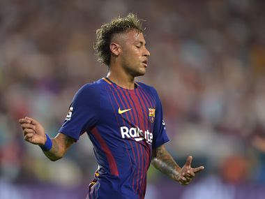 Neymar of Barcelona reacts during their International Champions Cup football match at Hard Rock Stadium on July 29, 2017 in Miami, Florida. / AFP PHOTO / HECTOR RETAMAL