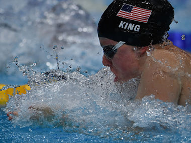 Lilly King competes in the final of the women's 50m breaststroke at the 2017 FINA World Championships. AFP