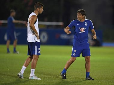 Alvaro Morata and Antonio Conte during training ahead of Chelsea's pre-season friendly against Bayern Munich.