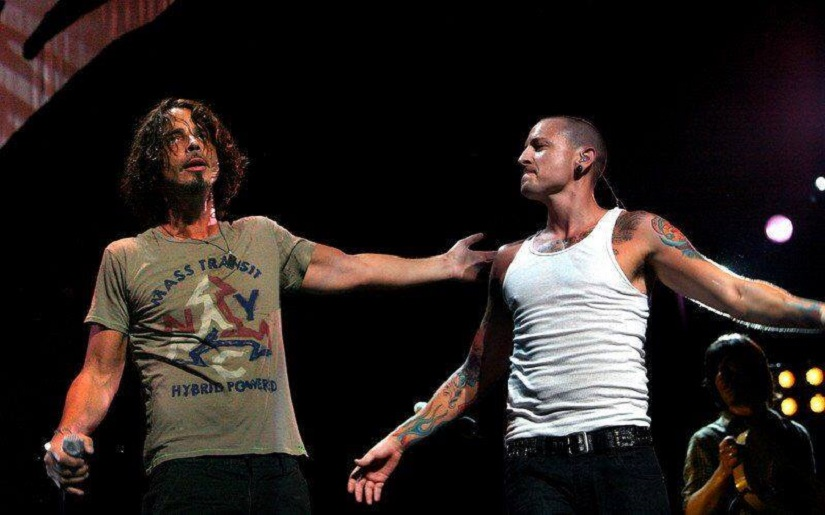 Chester Bennington and Chris Cornell on stage together. Image from Facebook