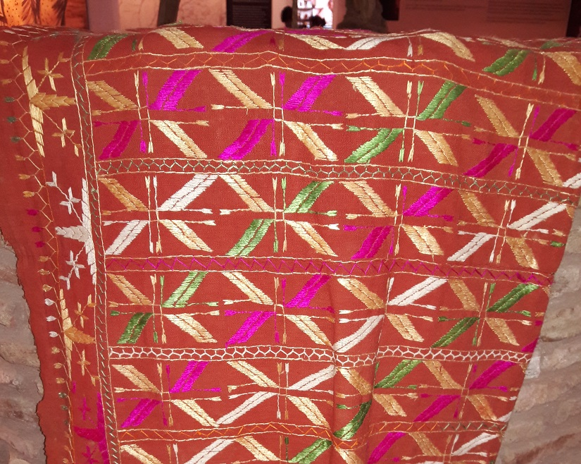 This phulkari hangs on the wall of the Partition Museum, Amritsar