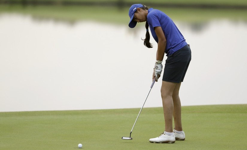 File photo of Aditi Ashok of India during the second round of the women's golf event at the 2016 Rio Olympics. AP