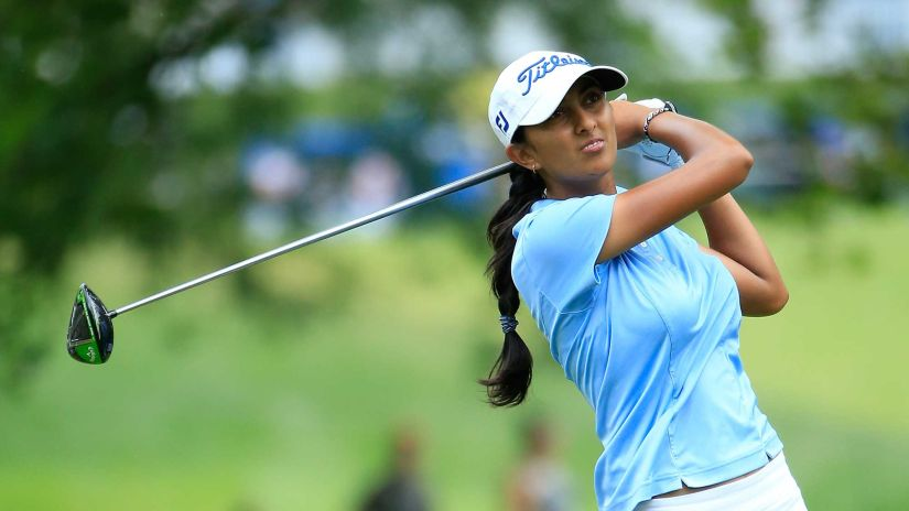 Aditi Ashok in action during the third round of the Marathon Classic. Image courtesy: LPGA official website
