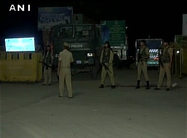 Police personnel in Jammu after the Amarnath Yatra attack. ANI twitter
