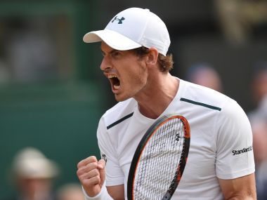 Tennis - Wimbledon - London, Britain - July 7, 2017   Great Britain's Andy Murray celebrates during his third round match against Italy's Fabio Fognini      REUTERS/Toby Melville - RTX3AJWO