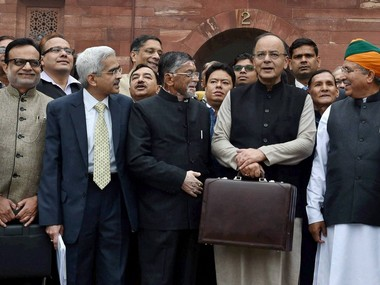 Finance minister Arun Jaitley and Mos Finance Satosh Gangwar. PTI