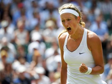 Tennis - Wimbledon - London, Britain - July 7, 2017 Belarus' Victoria Azarenka celebrates during her third round match against Great Britain's Heather Watson REUTERS/Toby Melville - RTX3AHT9