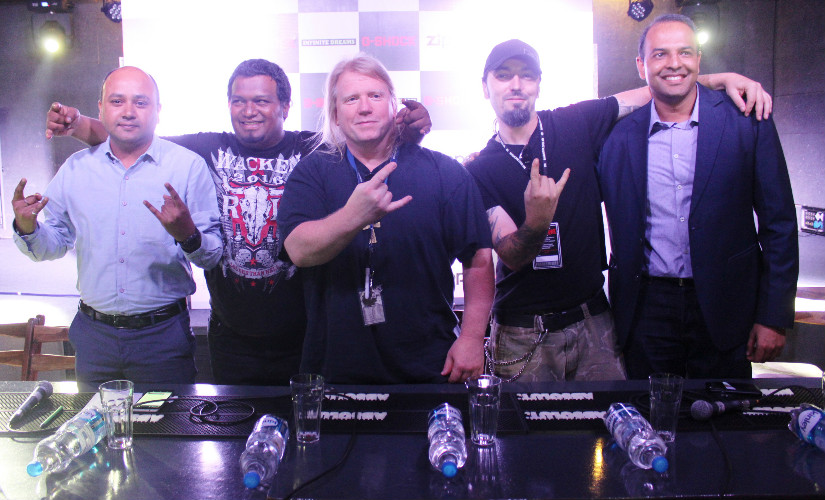 (L-R) Sachin Sharma (Casio India), Salman U Syed, Karl Sanders, Brian Kingsland and a representative from Zippo at the press conference for Bangalore Open Air