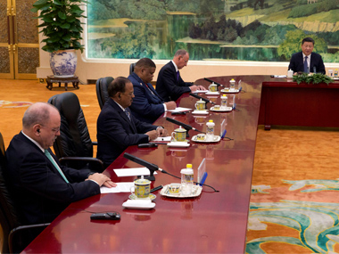 Ajit Doval and NSAs from other BRICS nations meet President Xi Jinping on Friday. AP