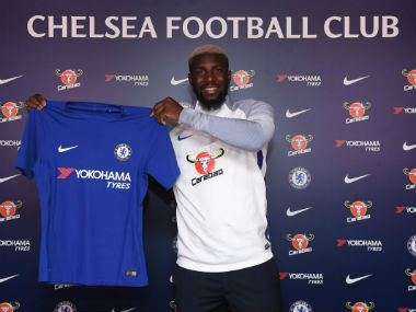 Tiemoue Bakayoko poses after completing his move from AS Monaco to Chelsea on Saturday. Twitter: @ChelseaFC