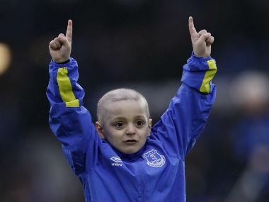 Young Sunderland fan Bradley Lowery warms up before Everton's match against Sunderland. Reuters