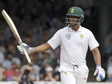 South Africa's Vernon Philander celebrates reaching 50 runs during the first test between England and South Africa at Lord's cricket ground in London, Saturday, July 8, 2017. (AP Photo/Matt Dunham)