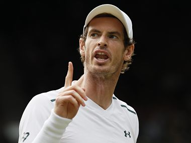 Britain's Andy Murray celebrates winning a point against Benoit Paire of France during their Men's Singles Match on day seven at the Wimbledon Tennis Championships in London Monday, July 10, 2017. (AP Photo/Kirsty Wigglesworth)