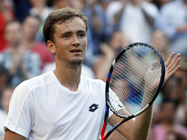 Russia's Daniil Medvedev celebrates after winning his Men's Singles Match against Switzerland's Stan Wawrinka, on the opening day at the Wimbledon Tennis Championships in London Monday, July 3, 2017. (AP Photo/Kirsty Wigglesworth)