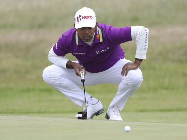 India's Anirban Lahiri prepares to putt on the 7th green during the first round of the British Open. AP