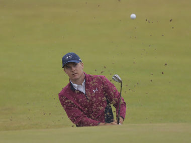 Jordan Spieth of the United States plays out of the bunker on the 14th hole during the second round of the British Open Golf Championship, at Royal Birkdale, Southport, England, Friday July 21, 2017. (AP Photo/Alastair Grant)