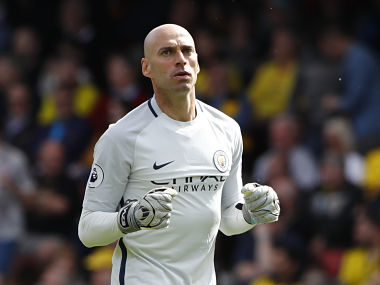 "Britain Football Soccer - Watford v Manchester City - Premier League - Vicarage Road - 21/5/17 Manchester City's Willy Caballero celebrates Reuters / Stefan Wermuth Livepic EDITORIAL USE ONLY. No use with unauthorized audio, video, data, fixture lists, club/league logos or ""live"" services. Online in-match use limited to 45 images, no video emulation. No use in betting, games or single club/league/player publications. Please contact your account representative for further details. - RTX36UMT"