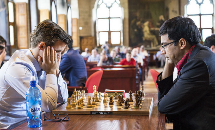 World Champion Magnus Carlsen had a narrow escape against Viswanathan Anand. Image courtesy: Official website