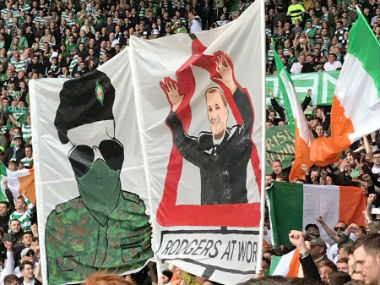 A sectarian terrorist banner at the Celtic park. Twitter: @JoeCOYS