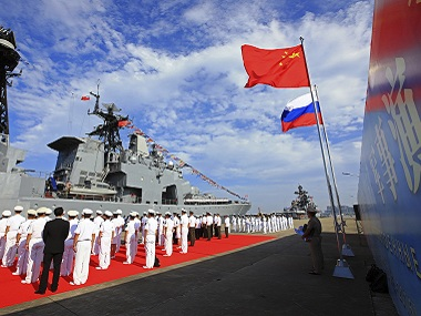File image of Russia-China naval exercises. AP