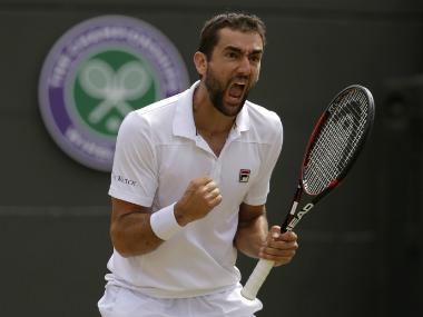 Marin Cilic reacts after winning the quarter-final against Gilles Muller at Wimbledon. AP