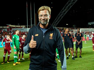 Jurgen Klopp is all smiles after Liverpool beat Leicester City in a pre-season friendly. Image courtesy-Twitter: @LFC