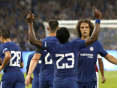 Chelsea's Michy Batshuayi, 23, celebrates after scoring a goal during the first half of their friendly soccer match against Arsenal in Beijing, Saturday, July 22, 2017. (AP Photo/Mark Schiefelbein)