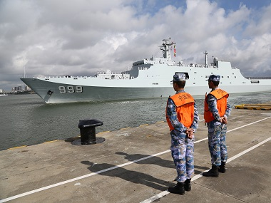 Chinese military personnel departing for Djibouti base. AP