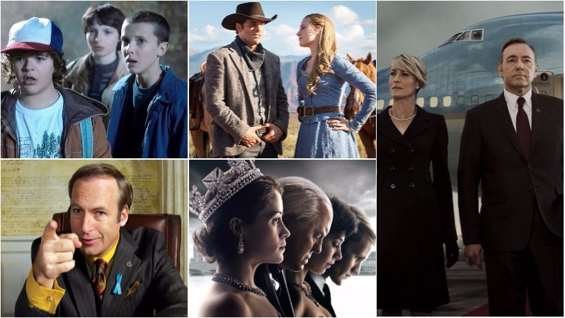 The full list of nominees for the Primetime Emmy Awards 2017 has been announced. Here, we see stills from (clockwise from top left): Stranger Things, Westworld, House of Cards, The Crown, Better Call Saul