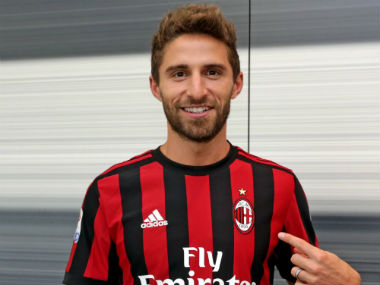 Italy striker Fabio Borini poses after signing for AC Milan from Sunderland. Twitter: @borinifabio29