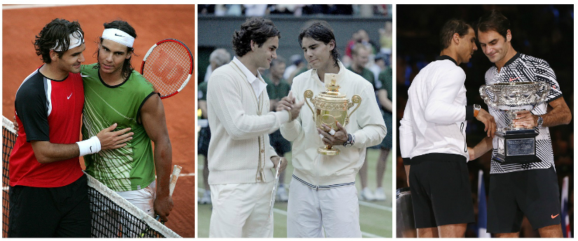 Federer-Nadal rivalry from 2005 French Open to 2008 Wimbledon to 2017 Australian Open. Reuters
