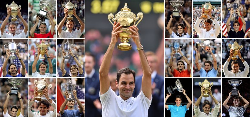 A combination of photographs created in Wimbledon, southwest London on July 16, 2017 shows Switzerland's Roger Federer holding up the trophy for each of his nineteen men's singles grand slam titles: (centre) Wimbledon 2017, (Left hand block of nine from top L-R) Wimbledon 2003, Australian Open 2004, Wimbledon 2004, US Open 2004, Wimbledon 2005, US Open 2005, Australian Open 2006, Wimbledon 2006, US Open 2006, (Right hand block of nine from top L-R) Australian Open 2007, Wimbledon 2007, US Open 2007, US Open 2008, French Open 2009, Wimbledon 2009, Australian Open 2010, Wimbledon 2012, Australian Open 2017. / AFP PHOTO / STF / RESTRICTED TO EDITORIAL USE