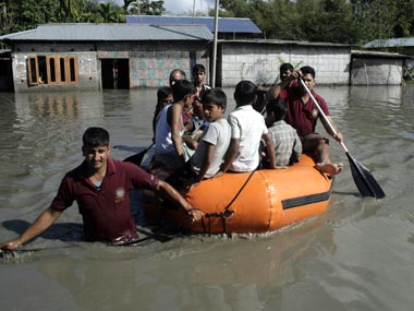 File image of locals stranded in Assam floods