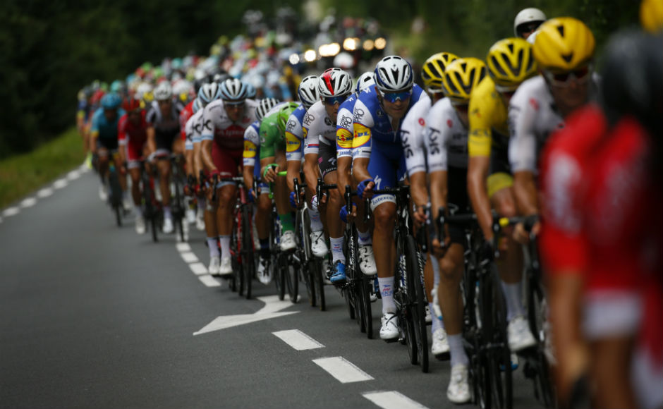 The pack rides during the tenth stage of the Tour de France cycling race over 178 kilometers (110.6 miles) with start in Perigueux and finish in Bergerac. AP
