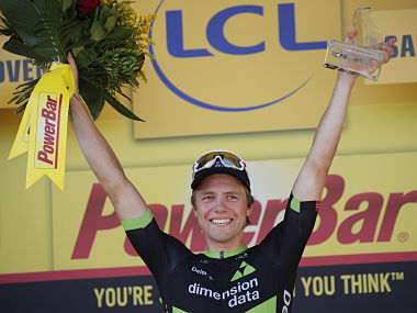 Stage winner Norway's Edvald Boasson Hagen celebrates on the podium after the nineteenth stage of the Tour de France cycling race over 222.5 kilometers (138.3 miles) with start in Embrun and finish in Salon-de-Provence, France, Friday, July 21, 2017. (AP Photo/Christophe Ena)