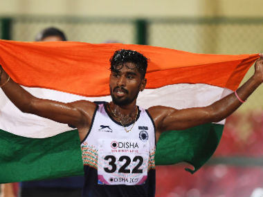 G Lakshmanan celebrates after winning gold on Day 1 of the Asian Athletics Championship. AFP