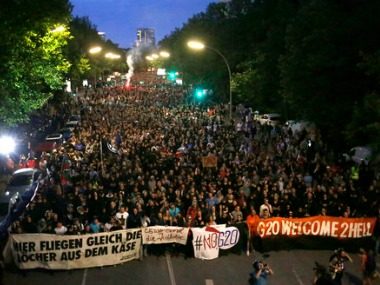 Thousands of people attend a protest against the G-20 summit in Hamburg. AP