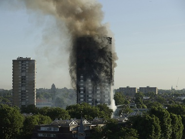 File image of Grenfell Tower after it caught fire in London. AP