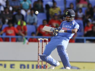 India's Hardik Pandya plays a delivery from West Indies' Alzarri Joseph during 4th ODI. AP