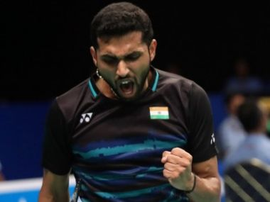 HS Prannoy celebrates winning a point in the US Open final. Image courtesy: BWF official website