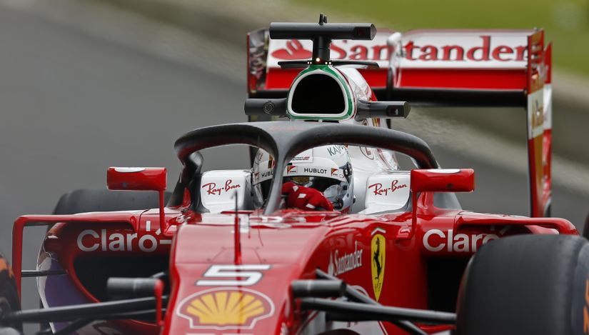 The Halo safety device on Ferrari's Sebastian Vettel's car during practice. Reuters