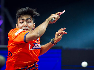 Harmeet Desai of DHFL Maharashtra United in action during the Tie 3 of Ultimate Table Tennis League against Oilmax-Stag Yoddhas. Ultimate Table Tennis
