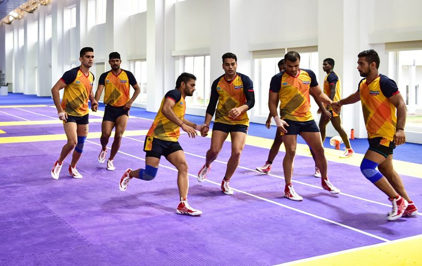 Haryana Steelers' players training at JSW Sports complex in Bellary ahead of PKL. Twitter/@HaryanaSteelers