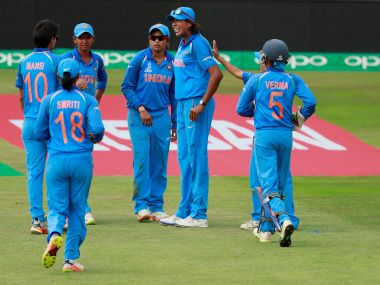 India players celebrate a Sri Lankan wicket during their Women's World Cup match. Reuters