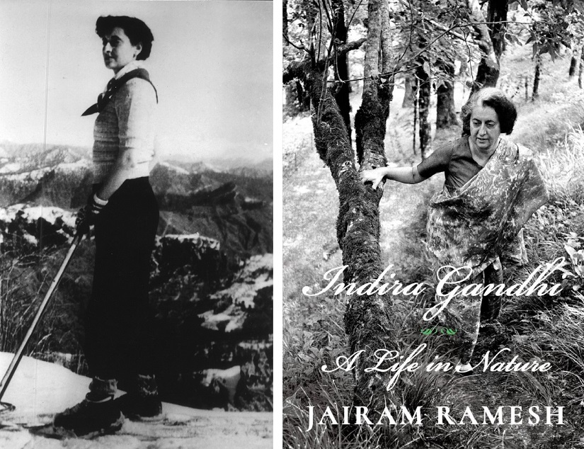 (L) Indira Gandhi in Himachal Pradesh in winter of 1956; (R) cover of Jairam Ramesh's book 'Indira Gandhi: A Life in Nature'.