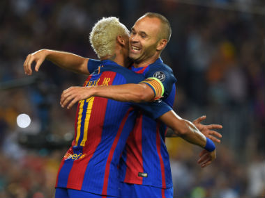 File image of Barcelona captain Andres Iniesta and Neymar. AFP